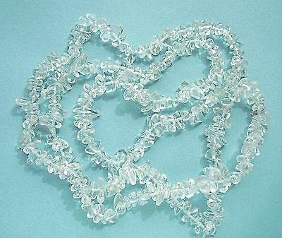 Long strand of Natural Clear QUARTZ CRYSTAL semi-precious Gemstone Chip Beads