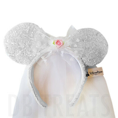 DISNEY PARKS MINNIE Mouse Wedding Bride Ears Veil Headband -  38.99 ... 7e353504145