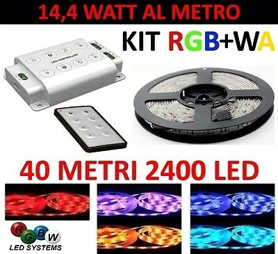 Kit 40 Metri Controller 1 Zona Striscia Rgb+Wa 2400 Led 5050 24 Volt Strip Meter
