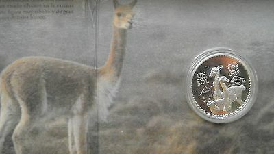1994 Peru UN Sol Vicunas Silver Proof coin in coin holder ***RARE***