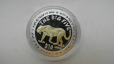 2001 Sierra Leone $10 Leopard Silver Proof coin Gold Gilded