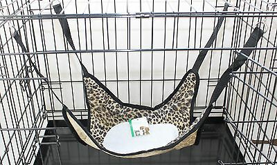 Rat Ferret Chinchilla hamsters Hammock Bed, Toy with Fleece Centre Loepard Print