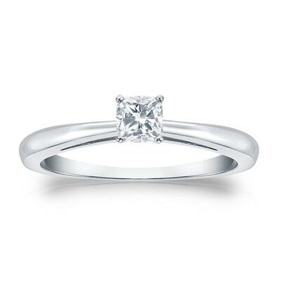 1 Ct Cushion Solitaire Engagement Wedding Promise Ring Solid Real 14K White Gold