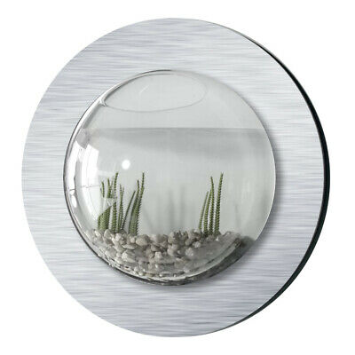 New! Wall Mounted Fish Tank - Brushed Aluminum Style Betta Bubble Aquarium