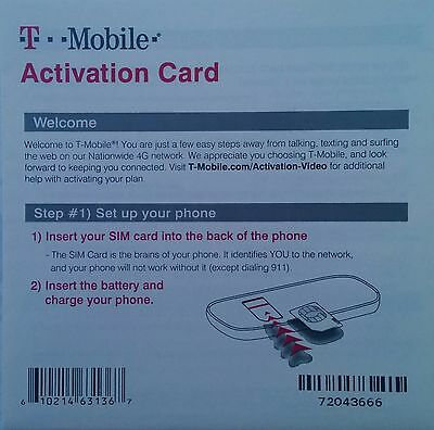 T-Mobile Starter Kit With $0 Value Activation Code Only (NO SIM card) Lot of 100