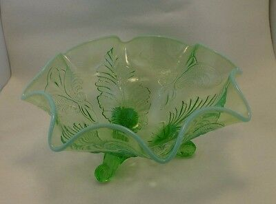ANTIQUE DUGAN GLASS Green OPALESCENT PALM AND SCROLL RUFFLED FOOTED BOWL