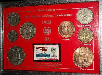 The International Lifeboat Federation Sea Marine Rescue Coin Stamp Gift Set 1963