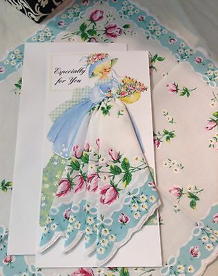 Darling New Garden Girl Card with Floral Handkerchief