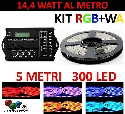 Kit 5 Metri Timer Controller Striscia Rgb+Wa 300 Led 5050 24 Volt Strip Meters
