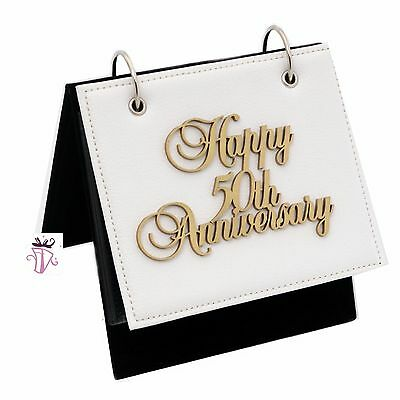 50th Wedding Anniversary Leather Slip in Photo Album on Stand Present Gift