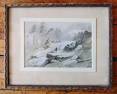 Alpine Scene Early 19th c. Canadian Drawing/Watercolor