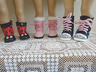 """NEW-DOLL BOOTS: 3 Pairs fit 18"""" Doll such as American Girl Dolls - LOT #259"""