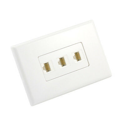 Cat6 Wall Plate 3 Port - Punch Down