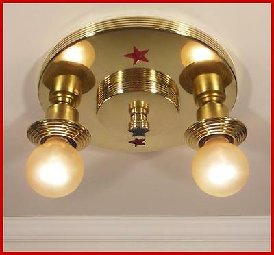 Best Vintage 1930 Art Deco Nautical Star Solid Brass Ceiling Light Fixture