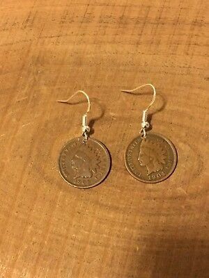 Indian Head Penny Coin Jewelry Earrings With .925 Ear Wires! 21a793f7d314