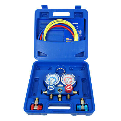 3 Way Manifold Vacuum Gauge Set R134a R410a R22 A/C AC HVAC Refrigeration KIT