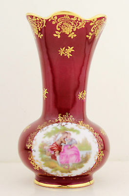 Vintage Tall LIMOGES Porcelain Vase Maroon Courting Couple High Tea China