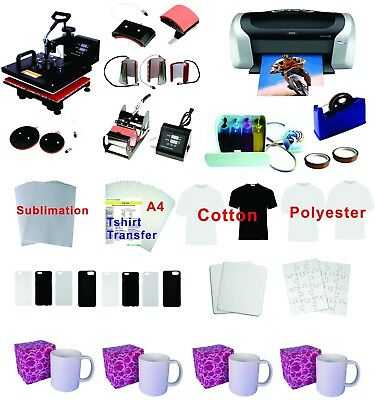 8in1 Professional Sublimation Heat Press Machine Epson Printer C88 CISS KIT