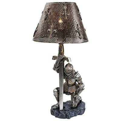 Battle Knight Lamp Templar Armor Weary Warrior Excalibur Medieval Gothic Statue
