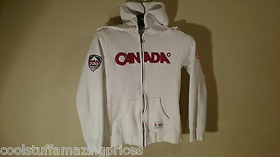 Women's 2010 HBC TEAM CANADA OLYMPIC HOODIE*Small*White Red Letters FULL ZIPPER