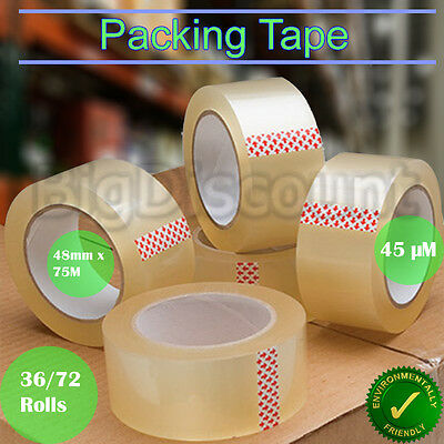 36 72 Roll Clear Packing Packaging Sticky Tape Box Carton 48mm x 75M Heavy Duty