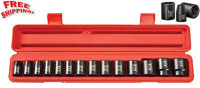 TEKTON Impact Socket Set 1/2 Inch Drive Shallow 14 Sockets Tools 11-32mm Metric