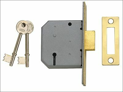 UNION - 2177 3 Lever Mortice Deadlock Polished Brass 77.5mm 3in Visi
