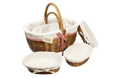 Traditional Oval Brown Wicker Storage Xmas Gift Hamper Basket With Lining-3Sizes