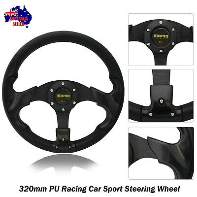 Black Sport Carbon Style 320mm PU Steering Wheel with Horn Button