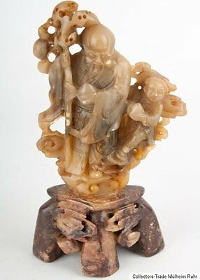 China 20. Jh. Speckstein A Chinese Soapstone Carving of Shou-Xing Cinese Chinois
