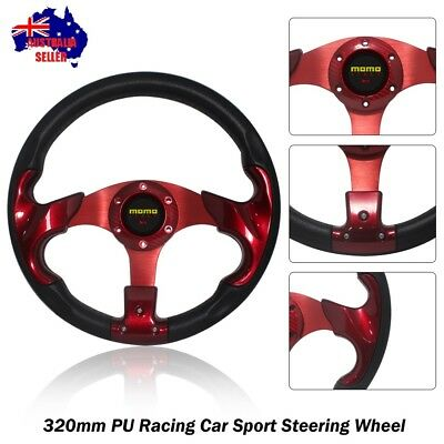 Red Sport 320mm PU Steering Wheel with Horn Button