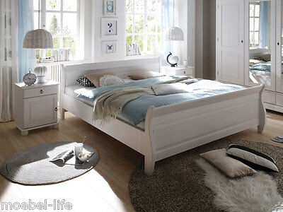 doppelbett bett 180x200cm kiefer massiv wei honig holz landhaus neu ovp eur 349 00 picclick de. Black Bedroom Furniture Sets. Home Design Ideas