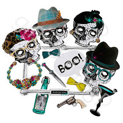 Halloween Skeleton Crew Photo Booth Party Kit & Props Selfie Photo Accessory