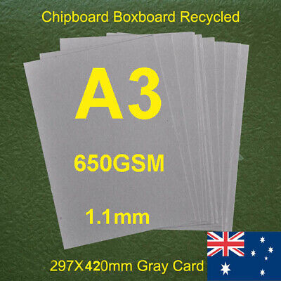 80 X A3 Chipboard Cardboard Recycled Gray Cards 500gsm 0.85mm