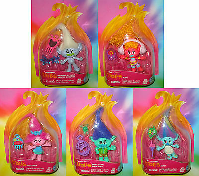 "TROLLS MOVIE 2016 - Branch, Poppy, Guy Diamond, DJ Suki, Harper, 3"" inch Figures"