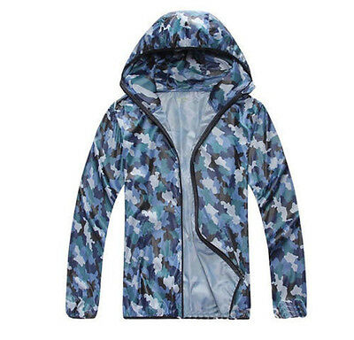 New Mens Quick Dry Beach Sun Protection Fishing Anti-UV Hoodie Rain Coat Jacket