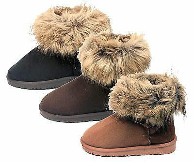 Women's Ankle Winter Boot suede and faux fur, slip on, brown WHOLESALE 26 PRS
