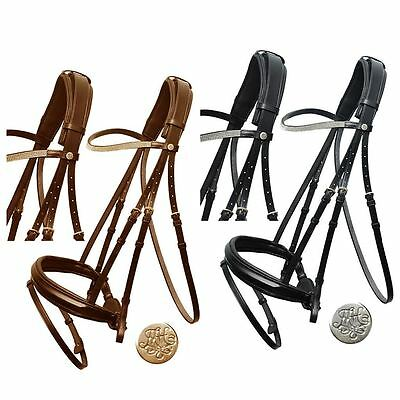 Mountain Horse Rembrant Padded Leather Noseband Browband Crystal Dressage Bridle