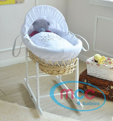 Full Set Natural Wick Moses Basket With Mattress,Bedding sets,and Rocking Stand
