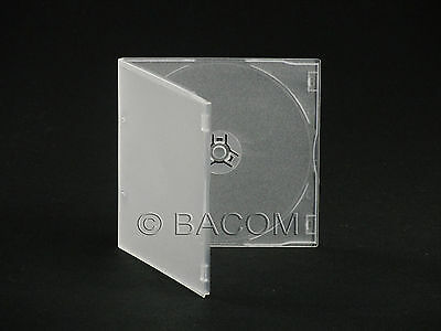 100 Custodie CD Singole Semi Trasparenti Slim PP - Slim BOX Clear 1 CD/DVD
