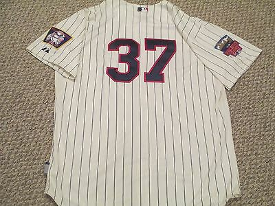Mike Pelfrey 2014 Twins Game Jersey Home Cream pinstripe size 52 #37
