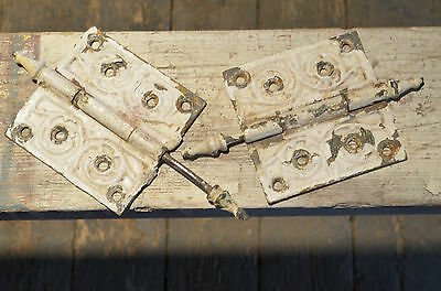Vintage Antique Architectural Hardware Set of 2 Victorian Door Hinges VA1061