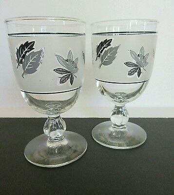 Set of 2 Frosted Wine Glasses-Goblets With Silver-Black Leaves-Unique