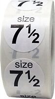 "Size 7 1/2"" White Shoe Size Stickers"