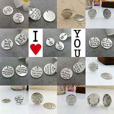 Wholesale Antique Silver LOVE Round Charm Pendant DIY Tag Inspiration Charms
