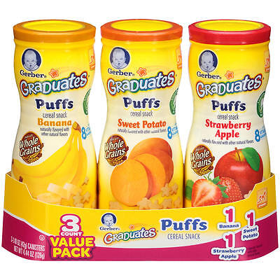 Gerber Graduates Puffs Cereal Snack Naturally Flavored with Other - 3 Count