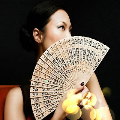 Casual Lady Chinese Style Hollow Wooden Folding Bamboo Carved Hand Fan AU