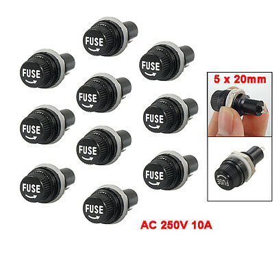 10 Pcs Electrical Panel Mounted 5 x 20mm Fuse Holder YM