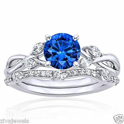 2.32Ct Round Cut Blue Sapphire Engagement Wedding Band 14K White Gold Ring