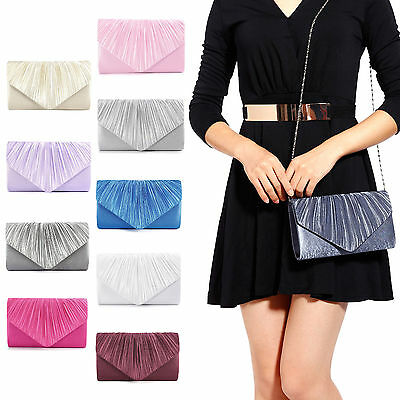 Satin Pleated Bag Wedding Party Prom Evening Clutch Bag Envelope Bridal Handbag